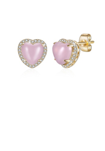 Glamorousky white Simple Plated Champagne Pink Heart Stud Earrings with Austrian Element Crystal D850EAC1F219FAGS_1