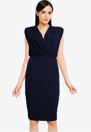 Goddiva navy Wrap Style Bodycon Midi Dress B00BEAA5C0F2DCGS_1