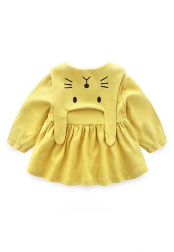 Kiddies Crew yellow Little Bunny Rabbit Collar Flutter Girls Baby Kids Long Sleeve Button Dress/ Blouse E30A0KA1DC0898GS_1