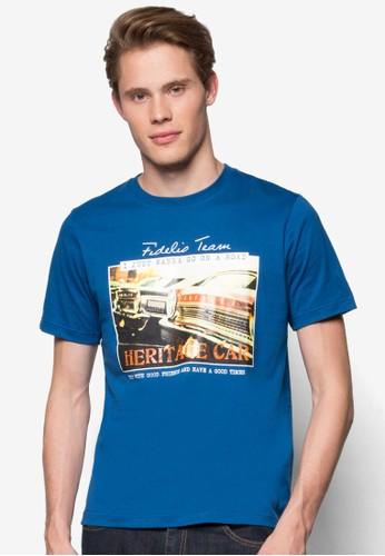 復古汽車圖案T 恤esprit 內衣, 服飾, 印圖T恤