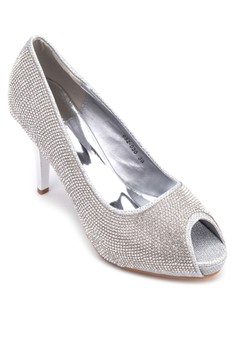 Bejewelled Peep-Toe Heels