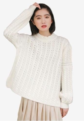 Shopsfashion white Knitted Pullover B06BCAA8182B0BGS_1