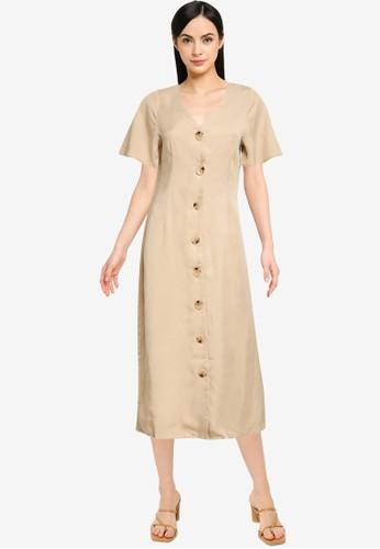 Vero Moda beige Viviana Calf Dress 0CF27AAEB2EE4CGS_1