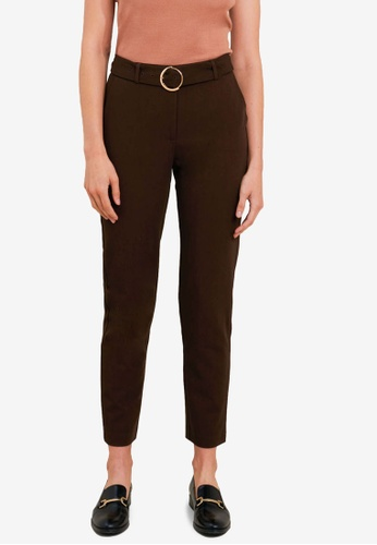 FORCAST brown Tammy Belted Slim Pants 39404AAC1CD872GS_1