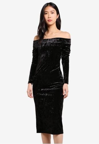 Wallis black Velvet Bardot Dress WA800AA0SHKBMY_1
