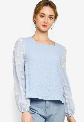 Lubna blue Floral puff sleeve blouse 2AD40AA1102D3FGS_1