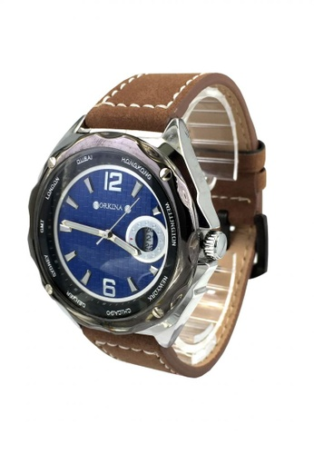 Chronomart black and brown and blue Orkina Men's Dial Suede Leather Strap Watch 4768AAC33C00EBGS_1