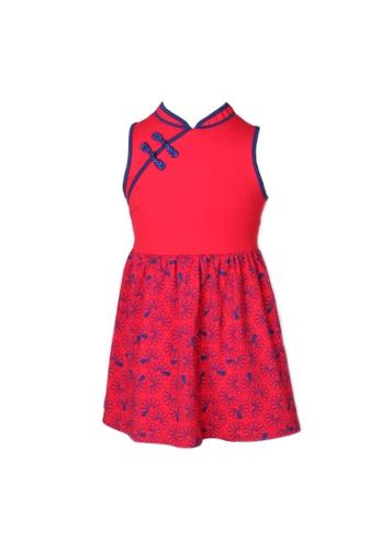 Mini Moley red Floral Patterned Print Cheongsam Inspired Dress BF8F9KAFA911ACGS_1