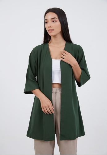 Berrybenka Label green Sophie Binnie Long Cardigan Olive D2060AA14B2B5AGS_1