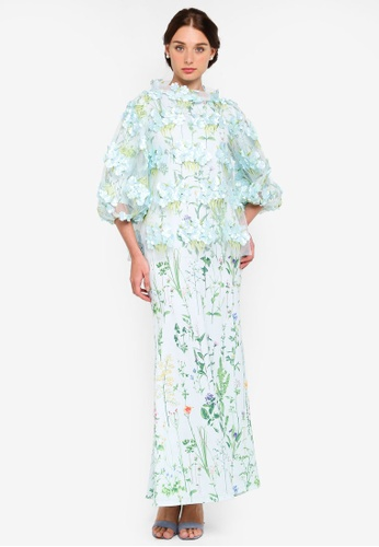 Primrose Applique Kurung from Rizalman for Zalora in green and Multi