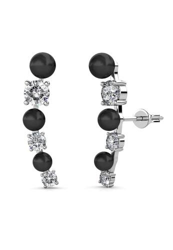Her Jewellery silver Swarovski® Crystals - Finley Earrings‏ (Black)(18K White Gold Plated) Her Jewellery A0491AC235D95EGS_1
