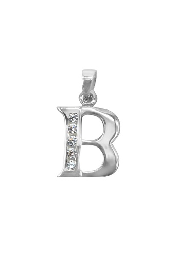 """Silverworks silver Andy Silver Letter """"B"""" Charm with Zirconia Stones 17926ACE0DBA52GS_1"""