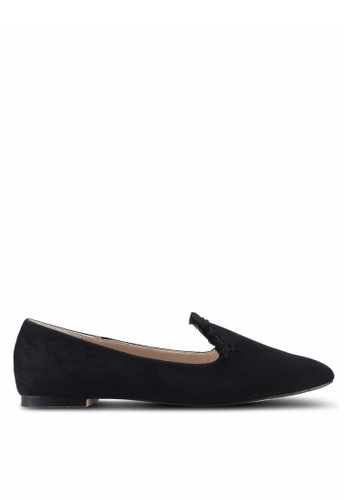 ZALORA black Fringed Detail Loafers 6BC65SHFF9CE08GS_1
