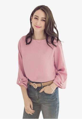 Yoco pink Chiffon Pearl Blouse 5F974AAB3F3A63GS_1