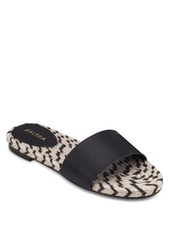 麻編一字帶平底涼鞋, 女鞋, 涼zalora taiwan 時尚購物網鞋子鞋
