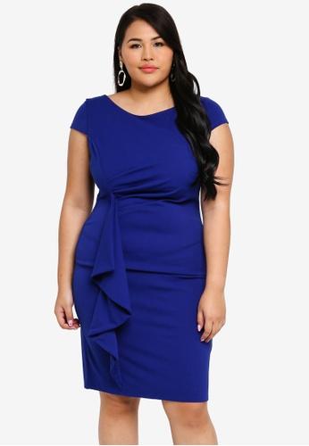 3eb2b2cb575 Goddiva blue Plus Size Front Frill Midi Dress 7985DAAA290726GS 1
