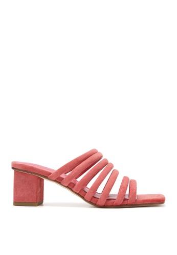 Rabeanco pink RABEANCO NIA Block Heel Sandals - Suede Coral Orange 3FABFSH6226820GS_1