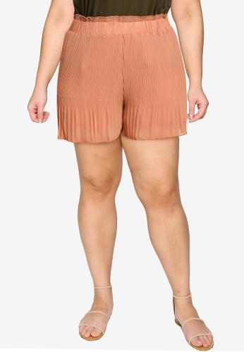 Violeta by MANGO orange Plus Size Plisse Shorts 77529AA8EDD028GS_1