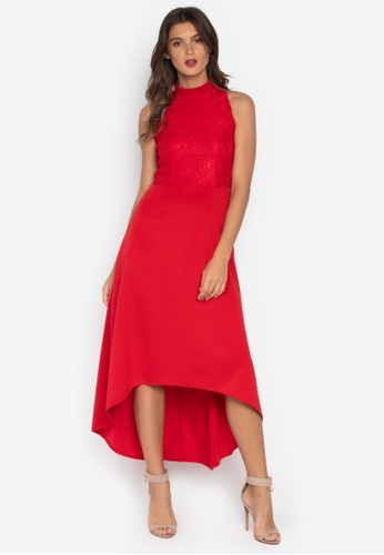 D Fashion Engineer red Melai Halter Hi-Low Lace Dress 4820CAAFDD97C0GS_1