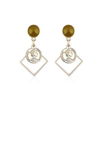 Glamorousky silver Fashion Individual Plated Gold Geometric Diamond Brown Earrings 8D58FAC05941FAGS_1