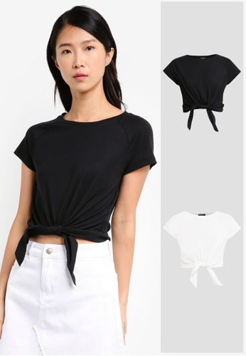 ZALORA black and white 2 Pack Scoopneck Cropped Top ZA919AA0IMJXSG_1