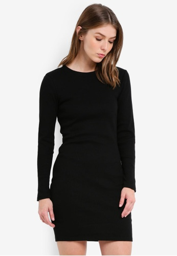 Supre black Longsleeve Rib Bodycon Dress 05292AACF9AE88GS_1