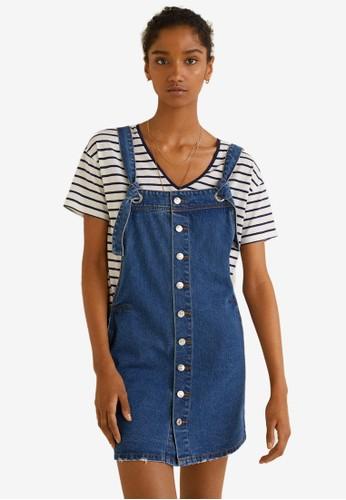 Mango blue Pocket Denim Pinafore Dress 6AB78AA1BB7AD8GS_1