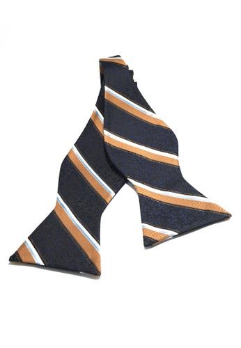 Splice Cufflinks Manual Series Orange Baby Blue & White Stripes Dark Blue Self-tied Man Made Silk Bow Tie SP744AC20KZRSG_1
