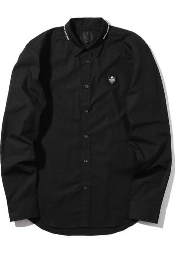 MUSIUM DIV black Logo print collar plastic badge shirt 9ED8BAA7874191GS_1