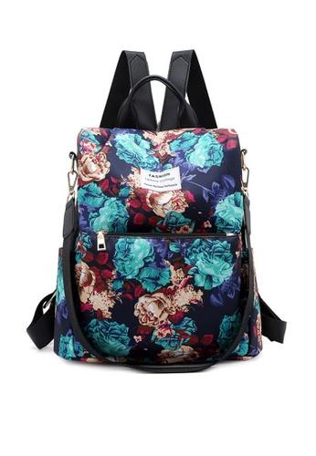 Twenty Eight Shoes black VANSA Floral Printed Nylon Oxford  Backpacks VBW-Bp1046 5D7E2AC212AA5CGS_1