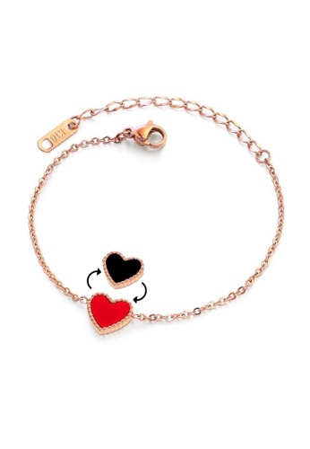 CELOVIS black and red and gold CELOVIS - Esme Heart Double-Side Bracelet (Black & Red) BD245AC78F2109GS_1