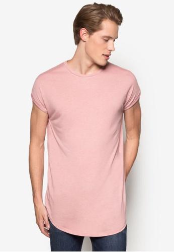 Topman pink Pink Drop Shoulder Longline T-Shirt TO413AA90KXLMY_1