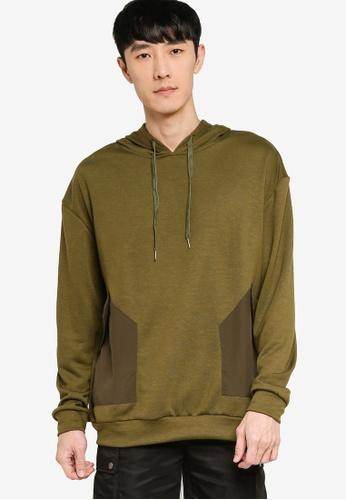 ZALORA BASICS green Mixed Fabric Duo Pocket Hoodie DE9B2AAC4BEC1AGS_1