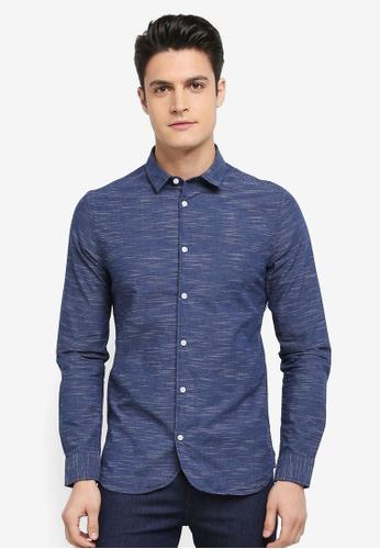 Only & Sons 藍色 混色長袖休閒襯衫 F55E4AAEA62497GS_1