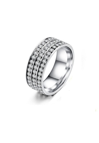 ADORA Stainless Steel Zircon Ring AD365AC2VVGWHK_1