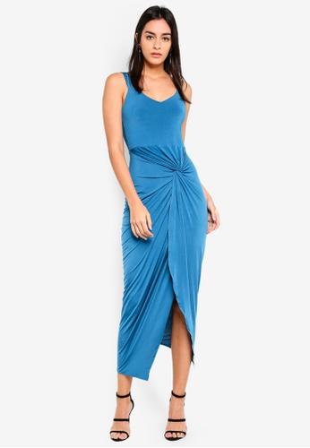 Miss Selfridge 綠色 Teal Bardot Twist Drape Maxi Dress 087B6AABEEA13DGS_1