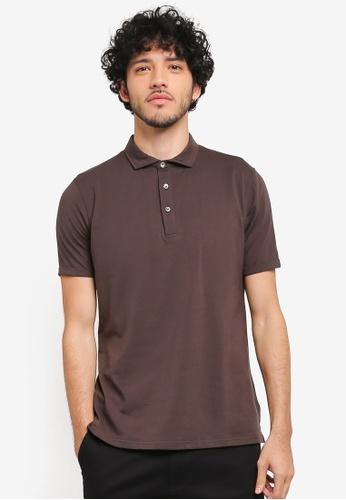 SPARROW GREEN brown Orlando Ceramic Cotton Collared Polo Shirt SP065AA0ST5OMY_1