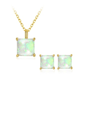 Glamorousky white 925 Sterling Silver Gold Plated Elegant Fashion Cube Pendant Necklace and Earrings Set with Austrian Element Crystal 38EC5ACEEC509FGS_1