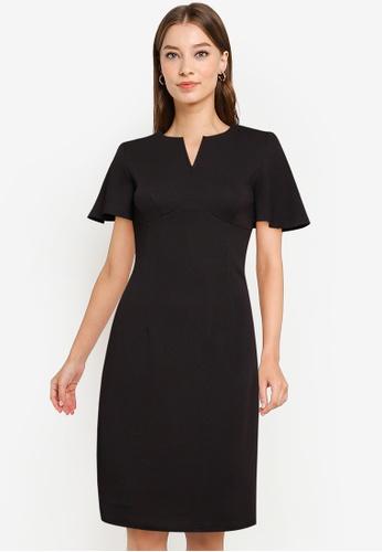 ZALORA WORK black Bell Sleeve Notch Neck Dress E3C17AA0A0A550GS_1