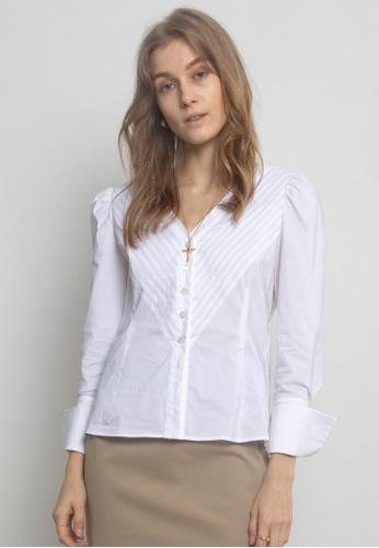 TAV white [Korean Designer Brand] Cotton Pleats Puffy Long Sleeves Blouse - White 4AAAEAAC0FABB1GS_1