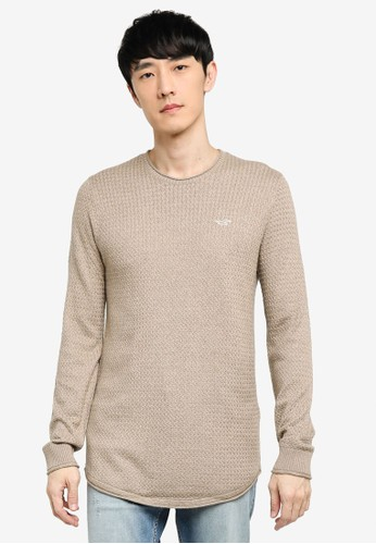Hollister brown Texture Crew Neck Sweater 4C786AA6F9F629GS_1