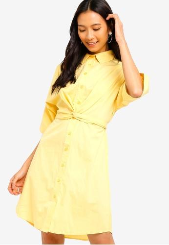 ZALORA 黃色 綁帶襯衫洋裝 AA5A0AAD317CD6GS_1