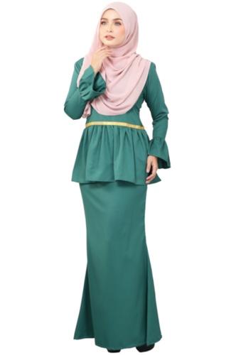 Kurung Peplum Marisa (AEPM04 Green Turqoise) from ANNIS EXCLUSIVE in Green
