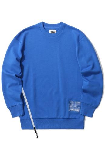 izzue blue PVC badge side zip sweatshirt B9CE8AAC08C415GS_1