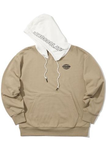 :CHOCOOLATE beige Contrast hood hoodie EFF56AA692A1F2GS_1