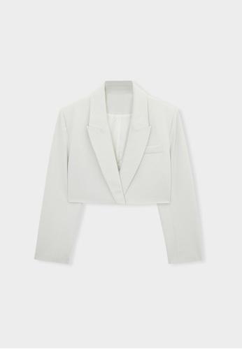 Pomelo beige Cropped Single Button Blazer - Beige 4D554AA799A44BGS_1