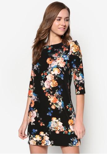 花卉七分袖洋裝, 服飾, zalora 順豐洋裝