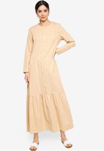 ZALIA BASICS brown Basic Placket Dress C32C9AAF81B7B6GS_1
