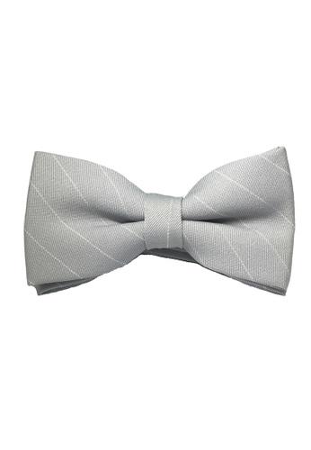 Splice Cufflinks grey Bars Series White Stripes Silver Cotton Pre-Tied Bow Tie SP744AC30TZTSG_1