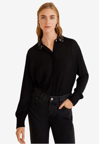 Mango black Beaded Collar Shirt AB315AA345E1DFGS_1